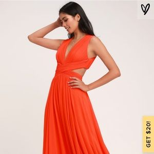 Lulu's Coral Red Full Length Dress